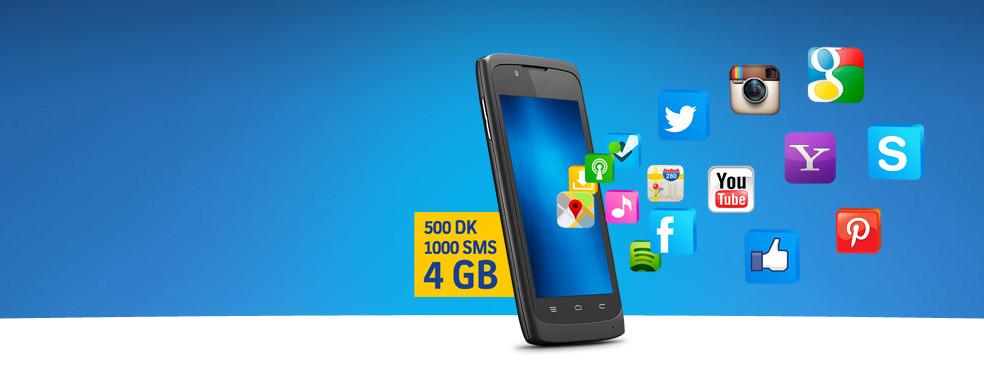 İnterneti Bol Paketler. İnterneti Bollar 4GB'landı. Üstelik her yöne 500 dakikası ve 1.000 SMS'i de yanında cabası!