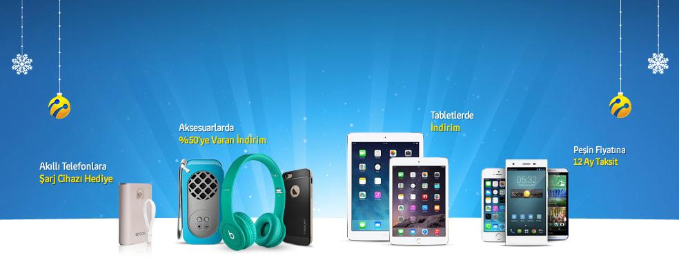 turkcell.com.tr'de Yeni Yil Firsatlari. %50 indirimli aksesuarlardan, tasinabilir sarj cihazi hediyeli akilli telefonlara yeni yil fırsatlarini kacirmayin.