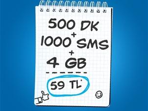 İnterneti Bol 500 dk 4 GB 1000 SMS Kampanyası