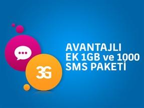 Avantajlı Ek 1GB ve 1000 SMS Paketi