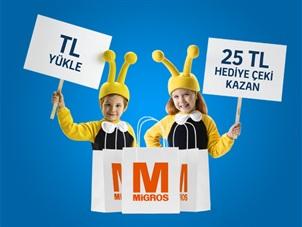 TL Yükleyenlere Migros'tan 25 TL Hediye Çeki Kampanyası