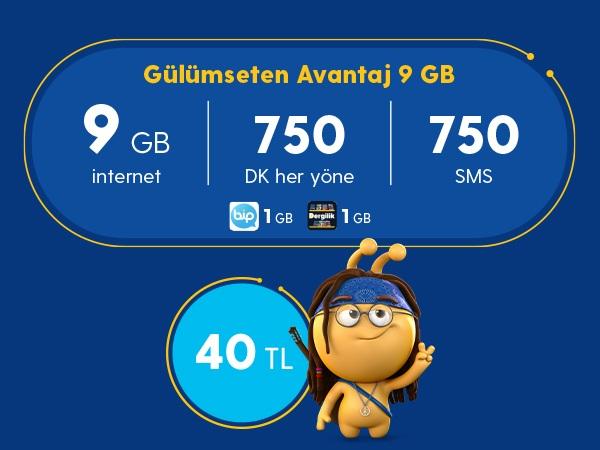 Gülümseten Avantaj 9 GB Paketi