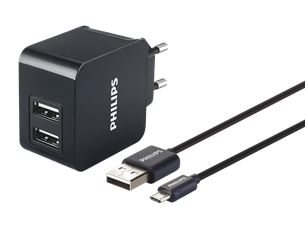 Philips DLP2307U Hızlı Çift USB Duvar Tipi Şarj Aleti
